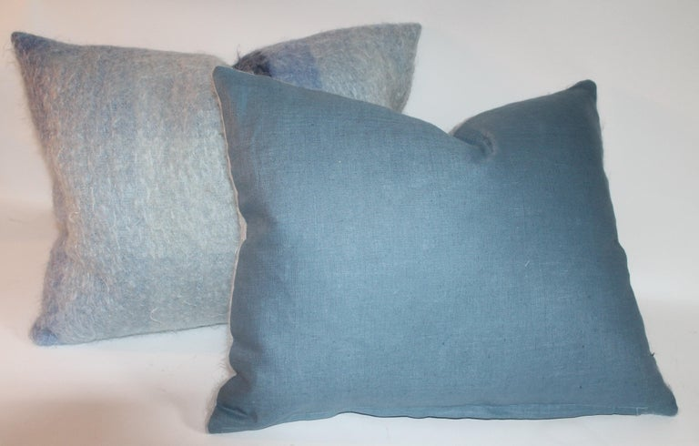 Mohair Pillows in Blues from Vintage Blanket, Pair For Sale 5