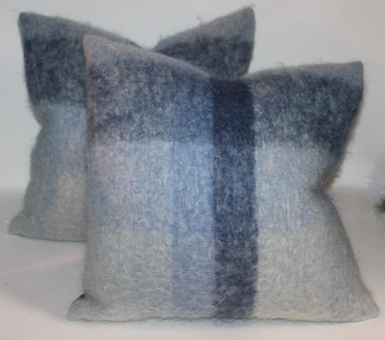 Mid-Century Modern Mohair Pillows in Blues from Vintage Blanket, Pair For Sale