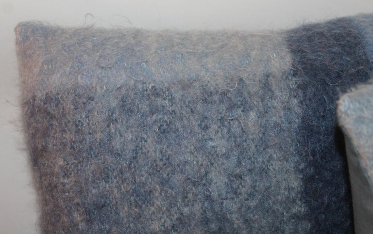 Hand-Crafted Mohair Pillows in Blues from Vintage Blanket, Pair For Sale