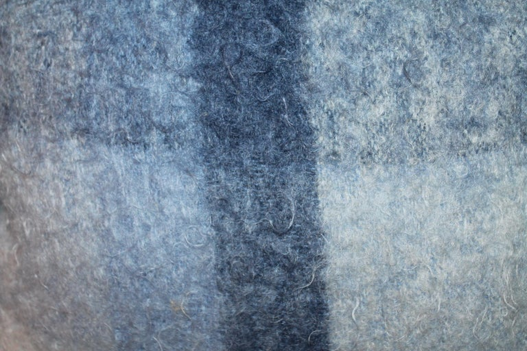 Mohair Pillows in Blues from Vintage Blanket, Pair In Excellent Condition For Sale In Los Angeles, CA