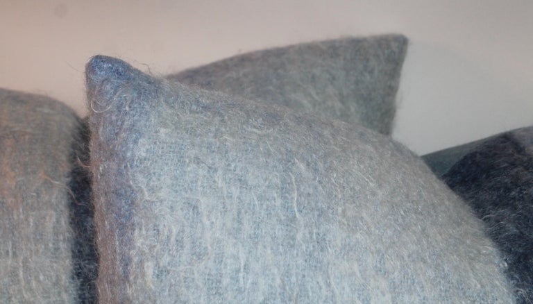 20th Century Mohair Pillows in Blues from Vintage Blanket, Pair For Sale