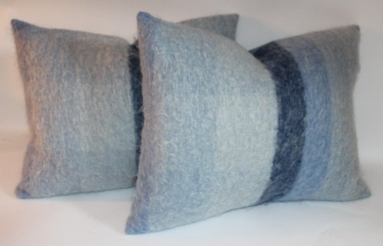 Mohair Pillows in Blues from Vintage Blanket, Pair For Sale 1