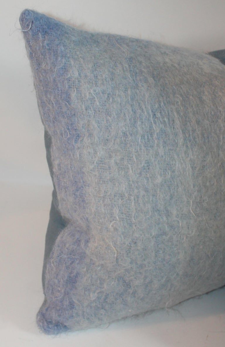 Mohair Pillows in Blues from Vintage Blanket, Pair For Sale 2