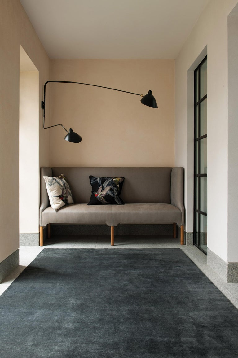 Deliciously soft mohair is hand-knotted into a plain textural rug with a luxurious sheen. The Rug Company can supply any size and color, and a deep or short pile can be specified.  Craftsmanship: hand-knotted mohair wool Technique: Long pile.  For