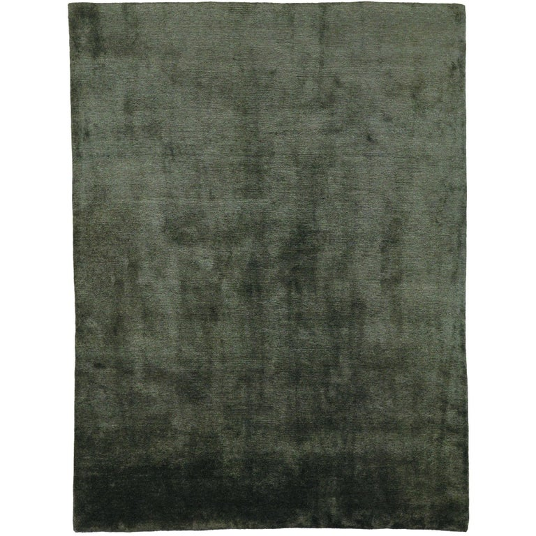 Mohair Slate Hand-Knotted 10x8 Rug in Wool by The Rug Company For Sale