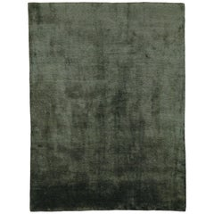 Mohair Slate Hand-Knotted Area Rug in Wool by The Rug Company