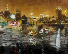 """""""Cairo Lights"""" Painting 15"""" x 24"""" inch by Mohamed Abla"""