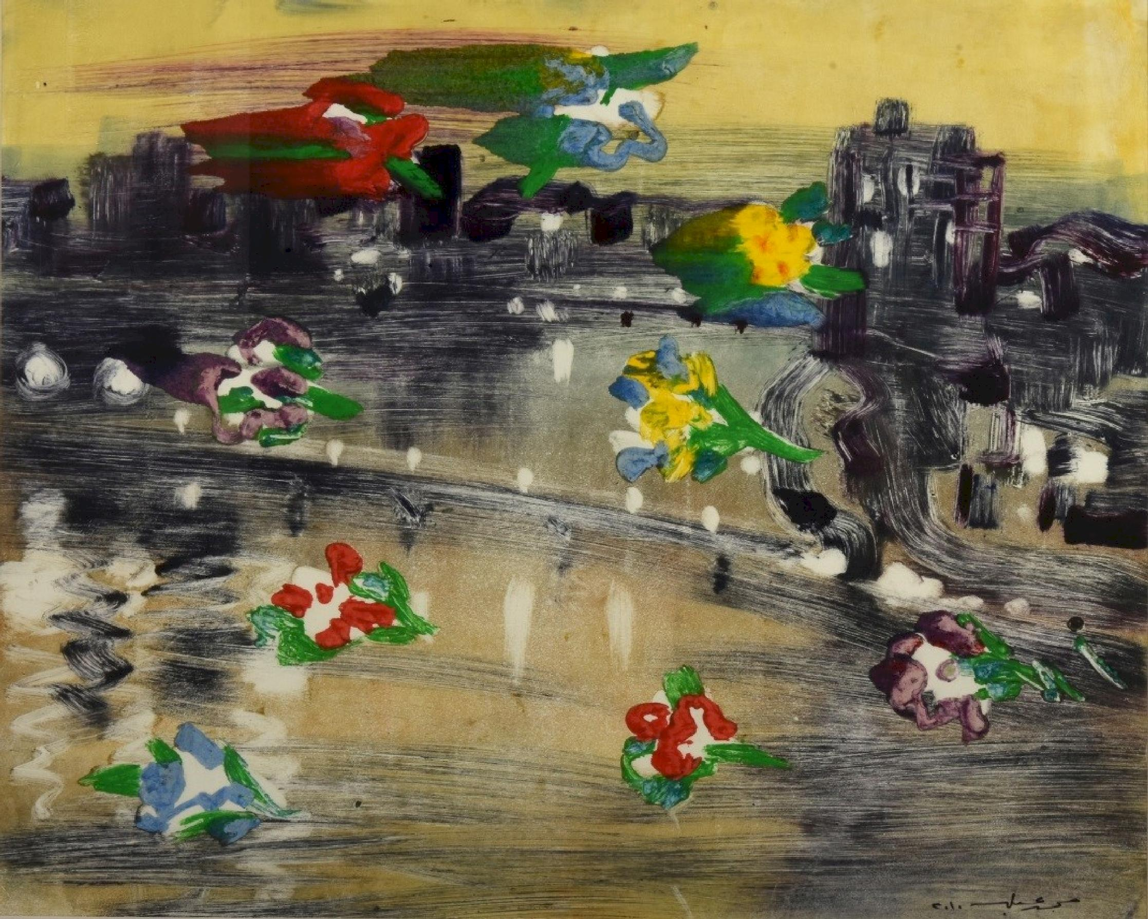 """""""Roses on the Nile II"""" Painting 20"""" x 25"""" inch by Mohamed Abla"""
