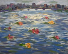"""""""Roses on the Nile III"""" Painting 47"""" x 59"""" inch by Mohamed Abla"""