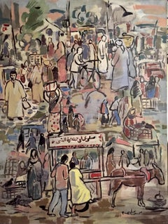 """""""The Cairo Market"""" Painting 51"""" x 43"""" inch by Mohamed Abla"""
