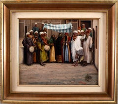 """Wedding Ceremony in Tebriz"", 19th Century Oil on Canvas by Mohamed Ali Naqash"