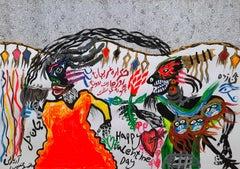 Happy Valentine day Mohammad Ariyaei 21st Century art Iranian outsider art paint