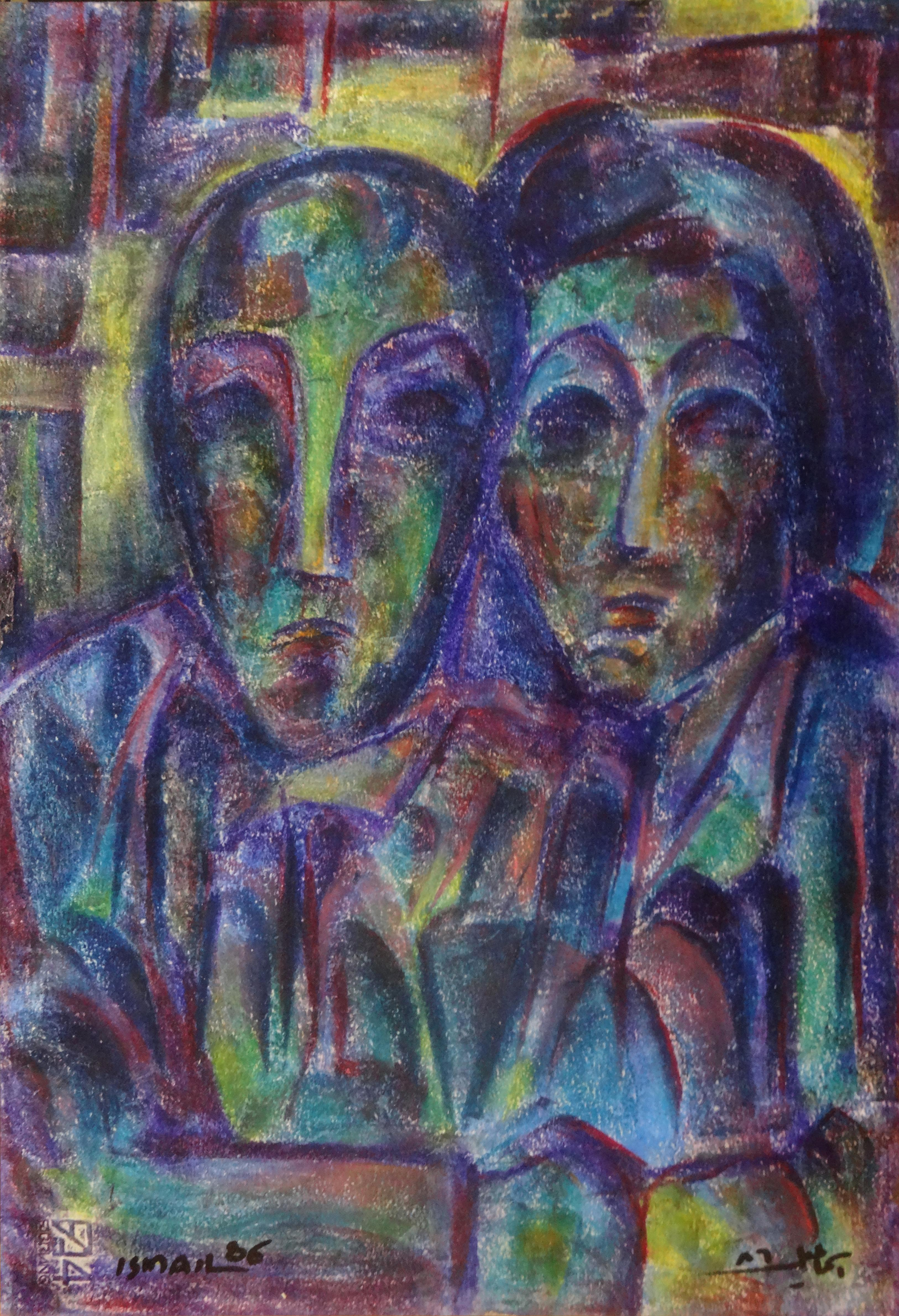 """""""Couple III"""" Oil on Wood Painting 19"""" x 13"""" inch by Mohammed Ismail"""