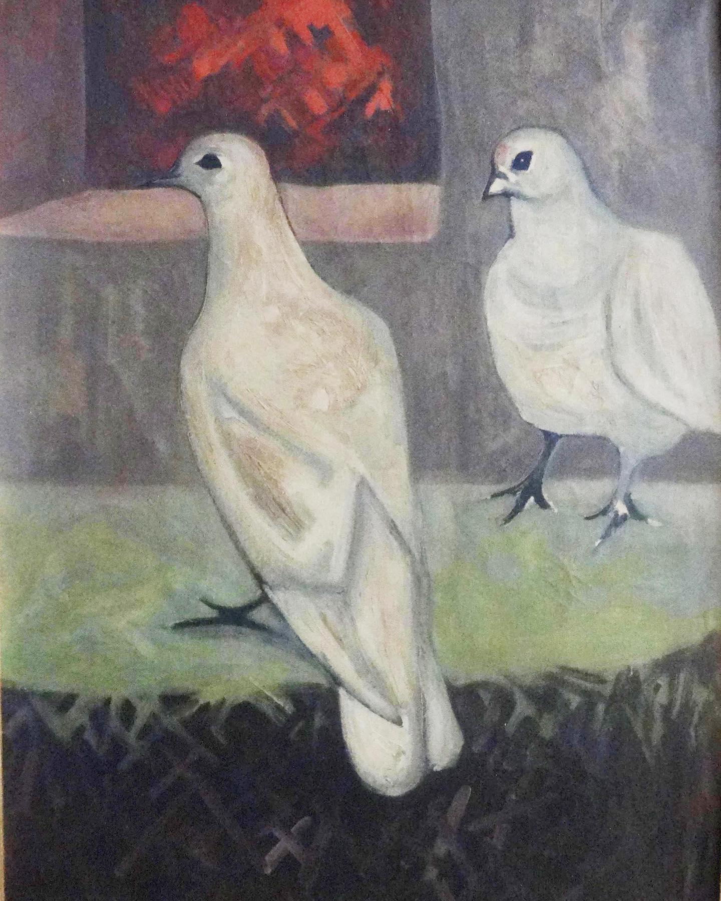 """""""Pigeons"""" Oil on Wood Painting 28"""" x 20"""" inch by Mohammed Ismail"""