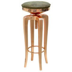 Mohawk Stool with Leather Seat and Polished Brass Legs