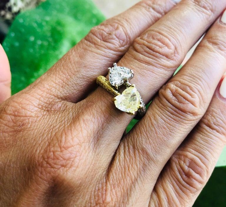 Moi Et Toi Double Hearts 3.46 Carat Diamonds Ring 18 Karat For Sale 6