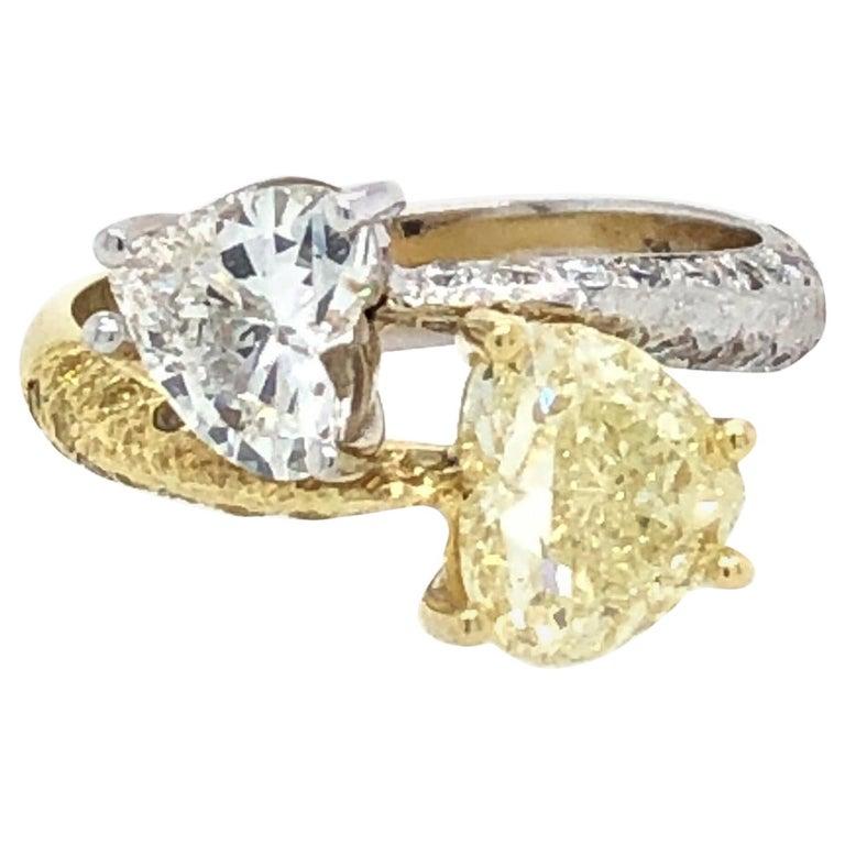 Moi Et Toi Double Hearts 3.46 Carat Diamonds Ring 18 Karat For Sale