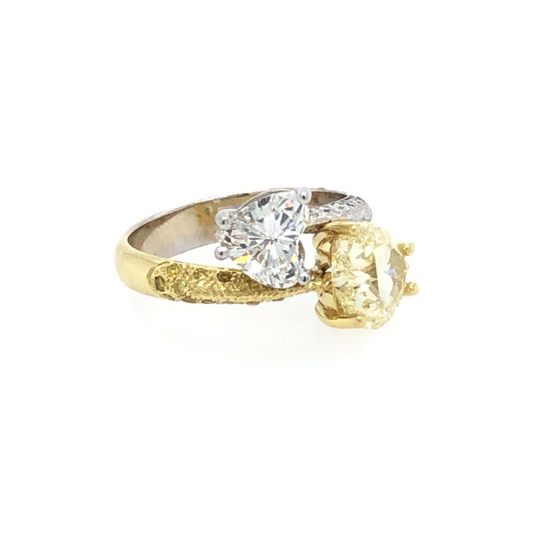 Heart Cut Moi Et Toi Double Hearts 3.46 Carat Diamonds Ring 18 Karat For Sale