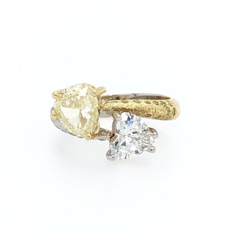 Women's or Men's Moi Et Toi Double Hearts 3.46 Carat Diamonds Ring 18 Karat For Sale