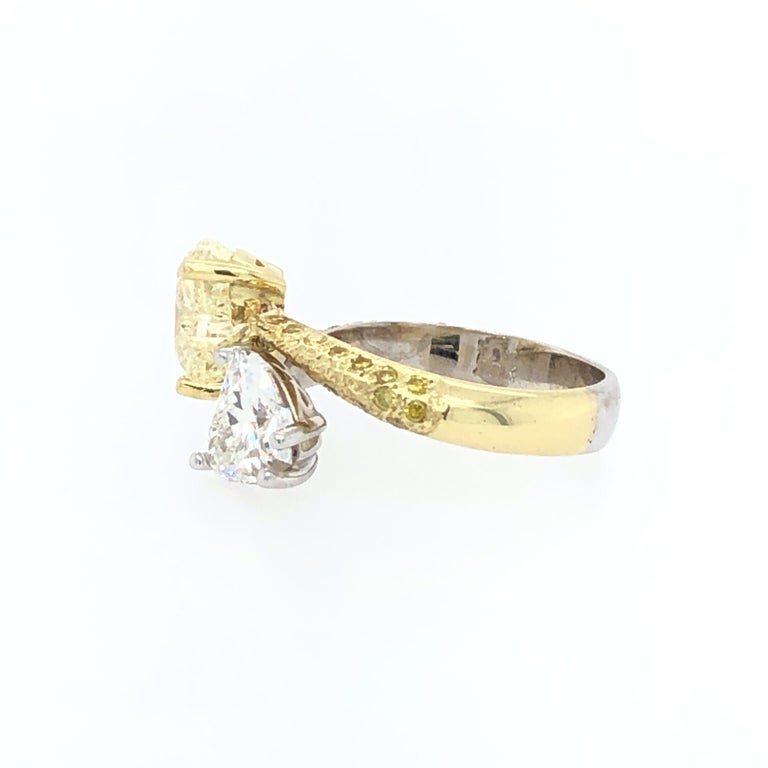Moi Et Toi Double Hearts 3.46 Carat Diamonds Ring 18 Karat For Sale 1