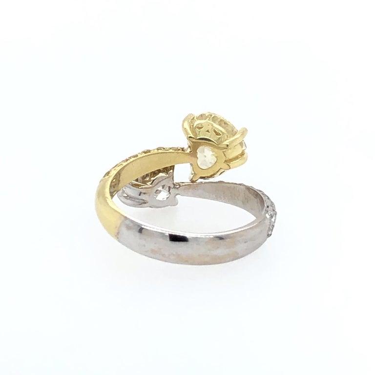 Moi Et Toi Double Hearts 3.46 Carat Diamonds Ring 18 Karat For Sale 2