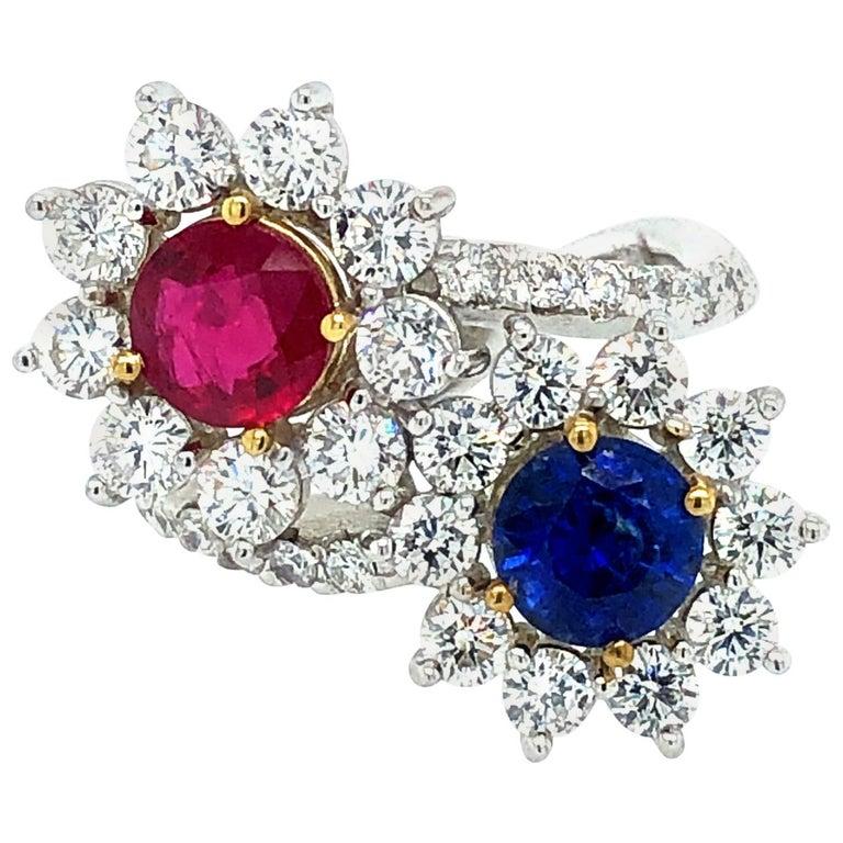 Moi et Toi Sapphire and Ruby Diamonds Ring 18 Karat Gold