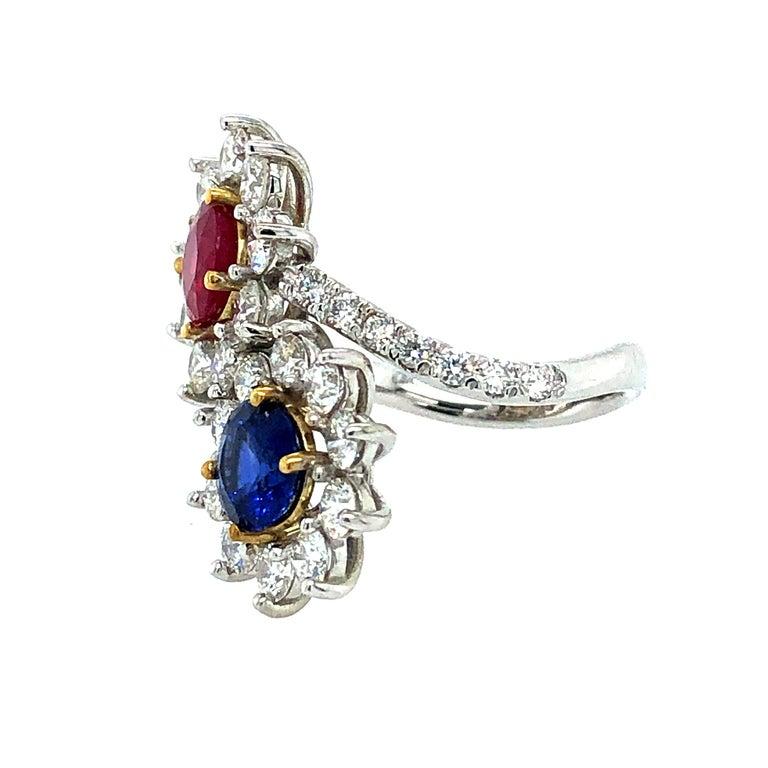 Brilliant Cut Moi et Toi Sapphire and Ruby Diamonds Ring 18 Karat Gold
