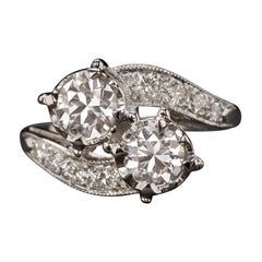 Moi & Toi Old European 2 Carat Bypass Diamond Cocktail Ring