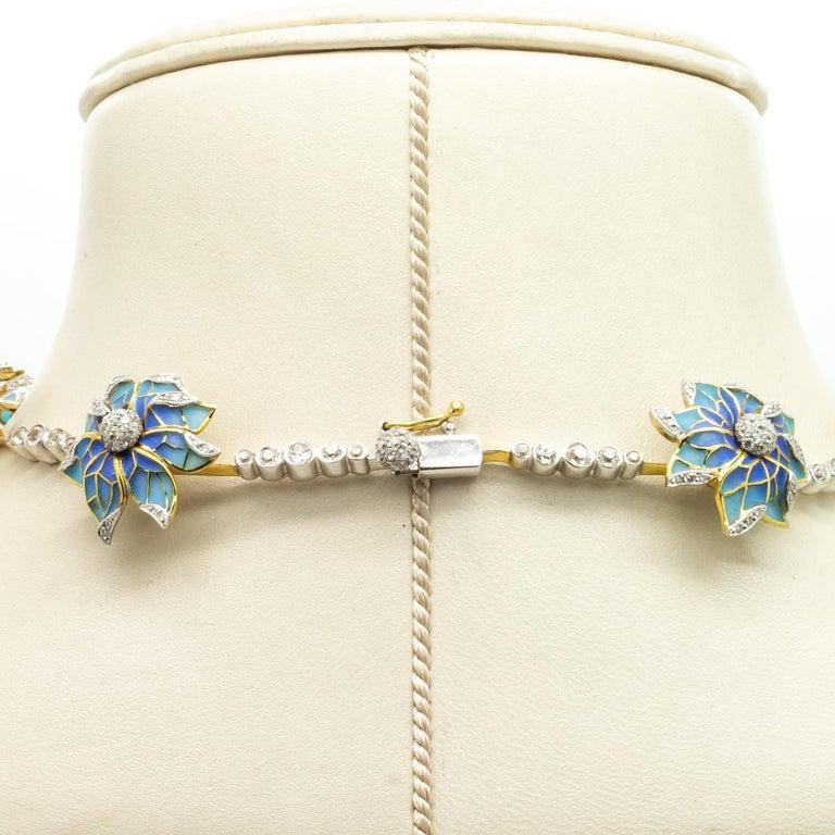 Plique-à-Jour Enamel, Pearl and Diamond Flower Necklace For Sale 5