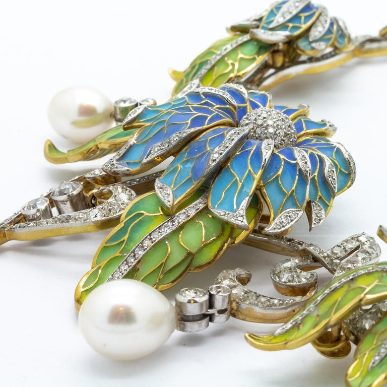 Women's Plique-à-Jour Enamel, Pearl and Diamond Flower Necklace For Sale