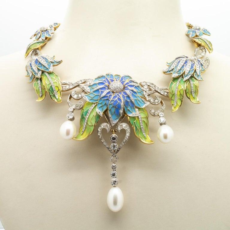 Plique-à-Jour Enamel, Pearl and Diamond Flower Necklace For Sale 2
