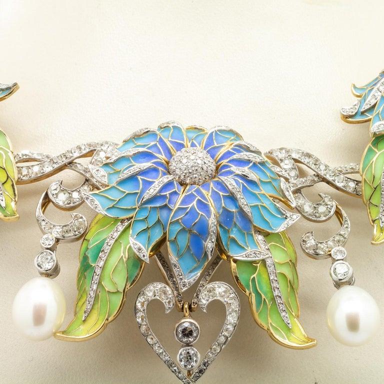Plique-à-Jour Enamel, Pearl and Diamond Flower Necklace For Sale 3
