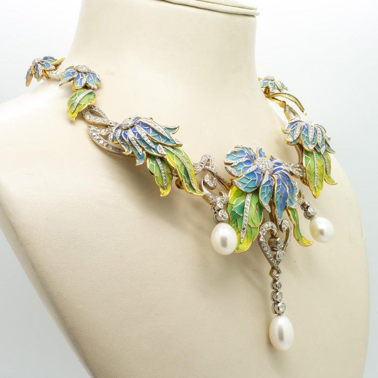 Plique-à-Jour Enamel, Pearl and Diamond Flower Necklace For Sale 4