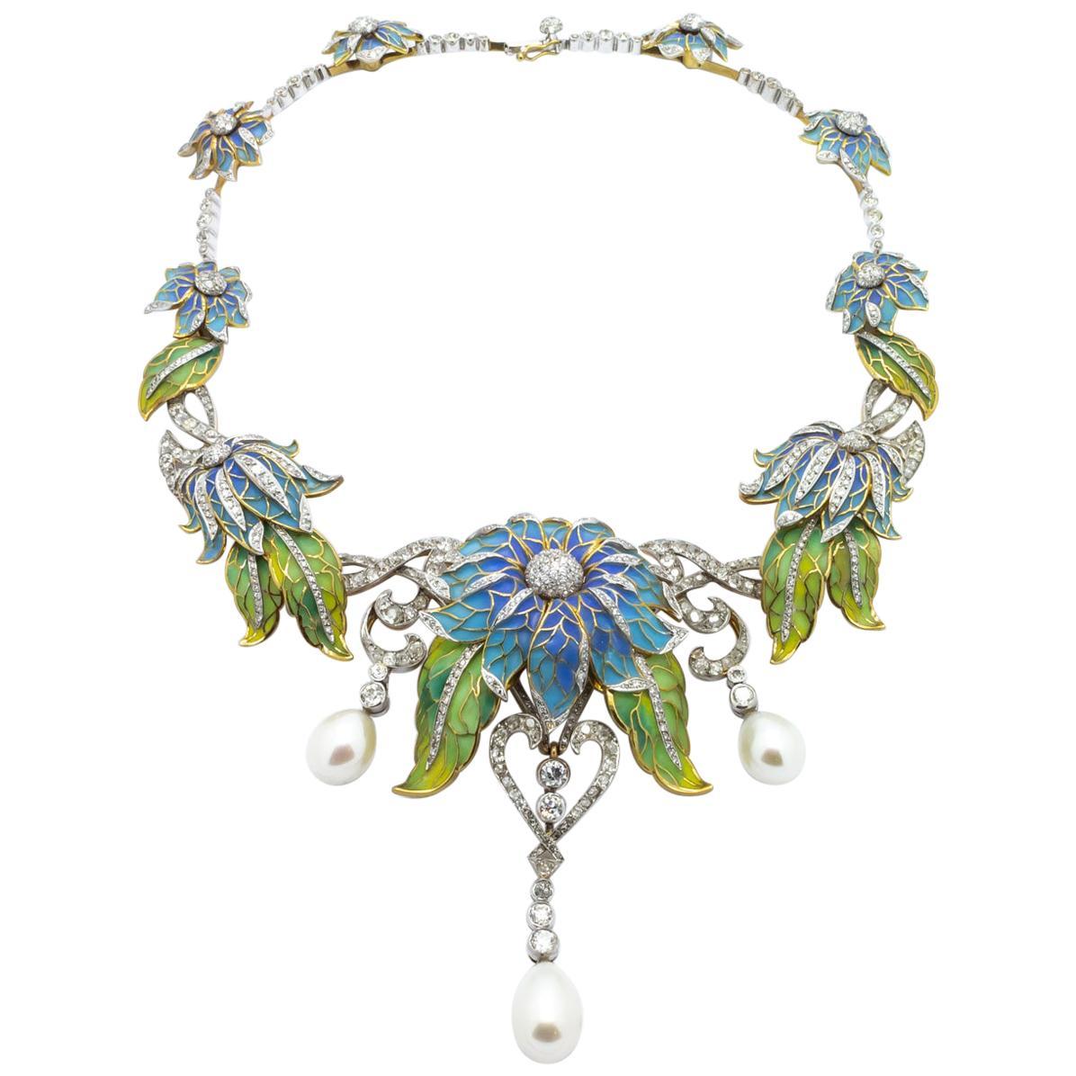 Plique-à-Jour Enamel, Pearl and Diamond Flower Necklace