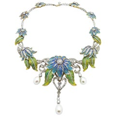 Plique-à-Jour Enamel, Pearl and Diamond Flower Necklace