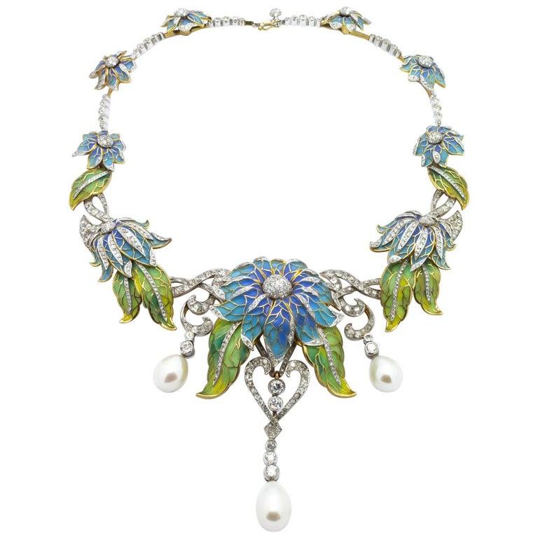 Plique-à-Jour Enamel, Pearl and Diamond Flower Necklace For Sale