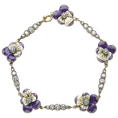 Moira Enamel and Diamond Pansy Bracelet