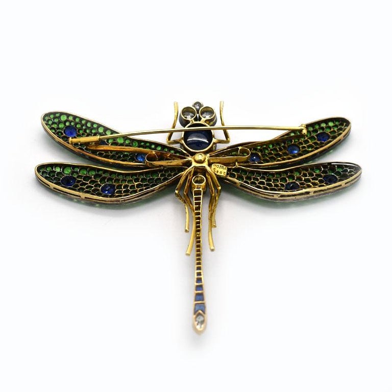 Moira, Green Garnet, Diamond, Sapphire, Silver and Gold, Dragonfly Brooch In Excellent Condition For Sale In London, GB