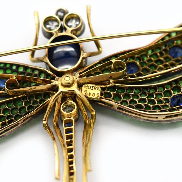 Women's or Men's Moira, Green Garnet, Diamond, Sapphire, Silver and Gold, Dragonfly Brooch For Sale
