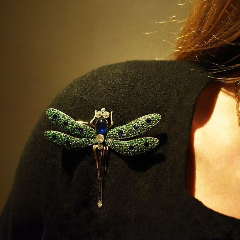 Moira, Green Garnet, Diamond, Sapphire, Silver and Gold, Dragonfly Brooch For Sale 1
