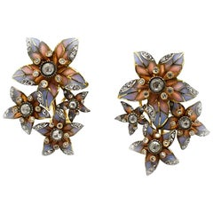Moira Pink and Blue Plique à Jour Enamel, Diamond and Gold Flower Earrings