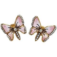 Moira Pink Enamel and Diamond Butterfly Earrings