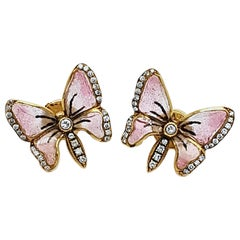 Moira Pink Enamel and Diamond Butterfly Earrings