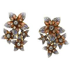Moira Plique à Jour Enamel and Diamond Flower Earrings
