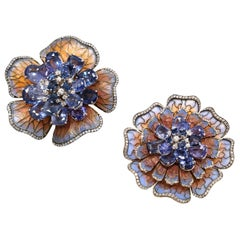 Moira of London, Plique-à-Jour Sapphire and Diamond Flower Pins/ Brooches