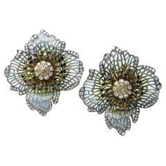 Moira Poppy Plique à Jour Enamel Diamond Silver Gold Earrings
