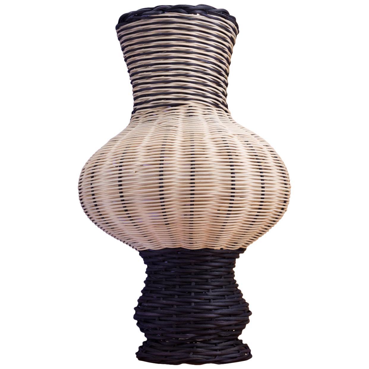 Moira Vase in Black, Natural, and Sienna Basket Reed