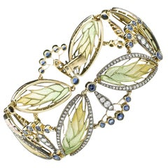 Moira Wheat and Seed Heads Plique-à-Jour Enamel Sapphire and Diamond Bracelet