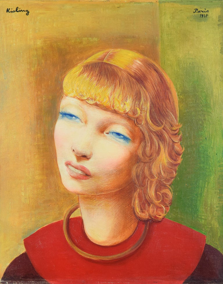 Jeune Fille Rousse by Moïse Kisling - portrait by post-Impressionist artist - Painting by Moise Kisling