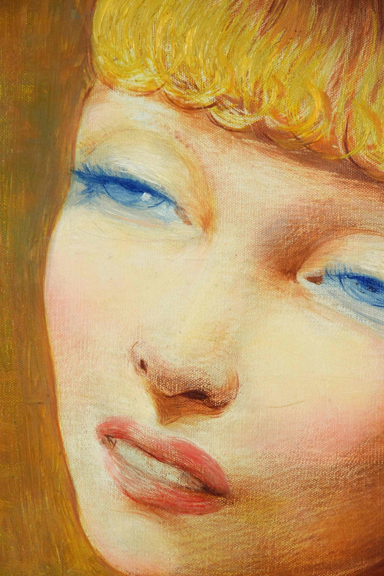 Jeune Fille Rousse by Moïse Kisling - portrait by post-Impressionist artist - Brown Portrait Painting by Moise Kisling